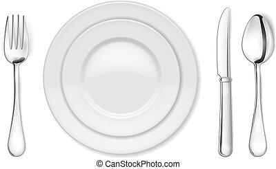 מזלג, כף, סכין, צלחת של ארוחת הערב