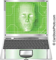 מחשב נייד, מושג, דוגמה, אישה