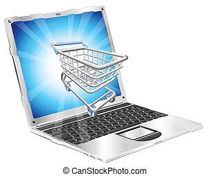 מחשב נייד, מושג, קניות, אינטרנט