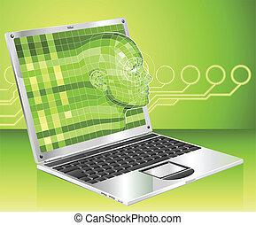 מחשב נייד, מושג, רקע, דוגמה, אישה