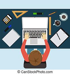 מחשב נייד, מסמכים, לעבוד, איש של עסק
