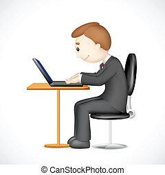 מחשב נייד, 3d, לעבוד, איש