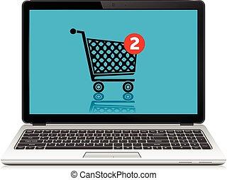 מחשב נייד, concept., קניות, cart., אונליין