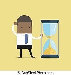 מטבעות., זהב, זמן, כסף., להסתכל, אפריקני, איש עסקים, שעון חול