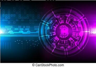 מטבע, מבריק, crypto, חפור, רקע., עסק, bitcoin, blockchain, קונצפטואלי