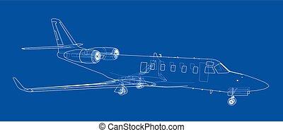מטוס, וקטור, blueprint.