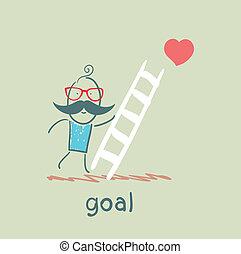 מטפס, מדרגות, מטרה, איש