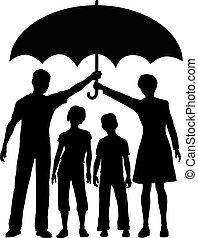 מטריה, סכן, משפחה, הורים, להחזיק, בטחון, ביטוח