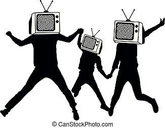 מידע, הובל, אנשים, פרופגנדה, silhouette., טלויזיה, zombies., מזויף, instead, news., מלחמה, איש