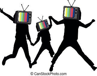 מידע, פרופגנדה, brains., התנתק, אנשים, הובל, silhouette., טלויזיה, zombies., מזויף, instead, news., מלחמה, איש