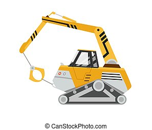 מיוחד, הפרד, equipment., machinery., תגמר, בנינים., בניה, וקטור, illustration., רקע., צהוב, לבן, הרס, excavator.