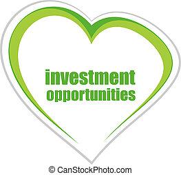מילים, עסק, concept., השקעה, הזדמנויות