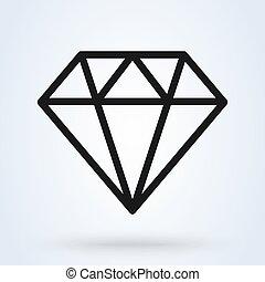 מינימלי, יהלום, design., תאר, איקון, וקטור, דוגמה, מודרני