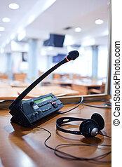 מיקרופון, -, בו זמני, לתרגם, מרכזייה, interpreter, תא קטן