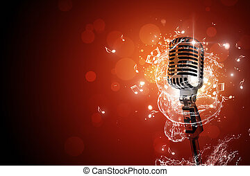 מיקרופון, מוסיקה, ראטרו, רקע