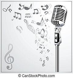 מיקרו, מוסיקלי, רקע, ראטרו