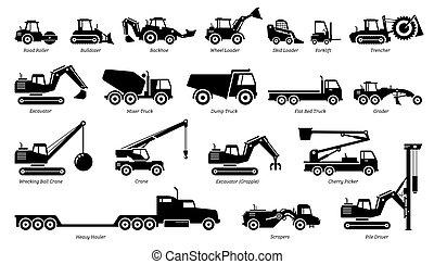 מכונות, כבד, טרקטורים, בניה, רשום, icons., כלי רכב