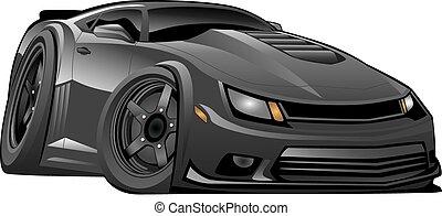 מכונית, אמריקאי, מודרני, שחור, שריר
