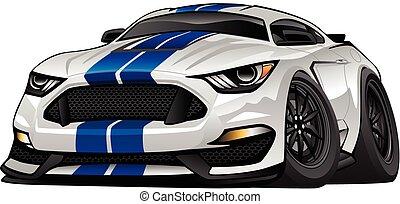 מכונית, אמריקאי, ציור היתולי, שריר, מודרני