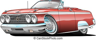 מכונית, אמריקאי, שריר, ציור היתולי, קלאסי