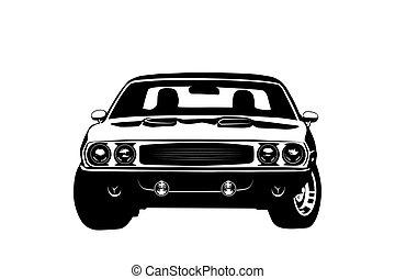 מכונית, אמריקאי, שריר, צללית, אגדה