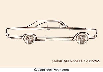 מכונית, אמריקאי, שריר, צללית, 60s
