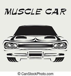מכונית, דוגמה, וקטור, ראטרו, פוסטר, שריר