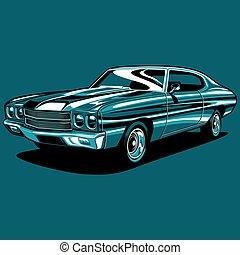 מכונית, דוגמה, שריר, וקטור