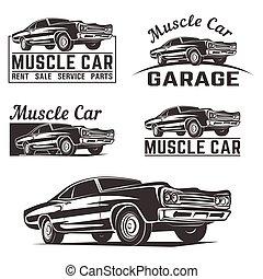 מכונית, וקטור, לוגו, סמל, שריר