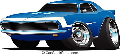 מכונית, וקטור, מוט, קלאסי, שנות הששים, חם, אמריקאי, סיגנון, ציור היתולי, שריר, דוגמה