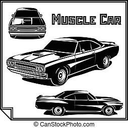 מכונית, וקטור, פוסטר, שריר, בצבע אחד