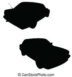 מכונית, וקטור, צללית, שחור