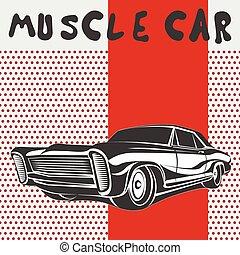 מכונית, וקטור, שריר, פוסטר