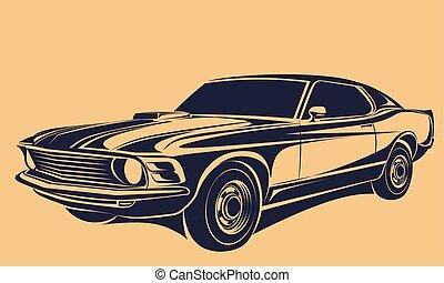 מכונית, וקטור, שריר