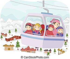 מכונית, ילדים, stickman, כבל