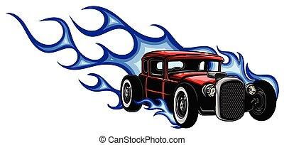 מכונית, ישן, להבות, שריר, וקטור, 70s, דוגמה