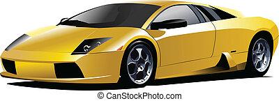 מכונית צהובה, ספורט, vec, road.