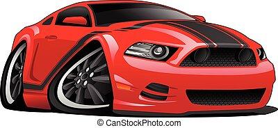 מכונית, ציור היתולי, שריר, דוגמה, אדום