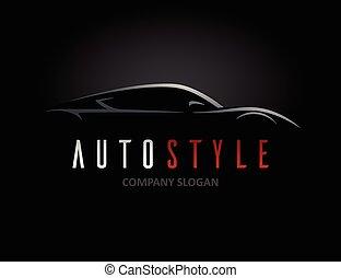 מכונית, צללית, רכב, ספורט, עצב, לוגו, מכונית, סיגנון, מושג