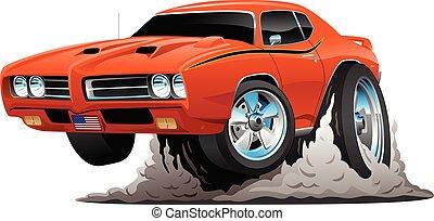 מכונית קלאסית, דוגמה, אמריקאי, וקטור, שריר, ציור היתולי
