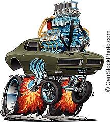 מכונית קלאסית, מוט, אמריקאי, דוגמה, חם, וקטור, שריר, ציור היתולי
