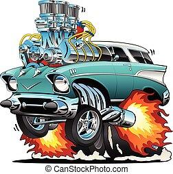 מכונית קלאסית, מוט, דוגמה, חם, וקטור, שנות החמשים, שריר, ציור היתולי