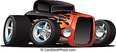 מכונית קלאסית, מוט, דוגמה, מנהג, חם, וקטור, *דו מושבי, ציור היתולי