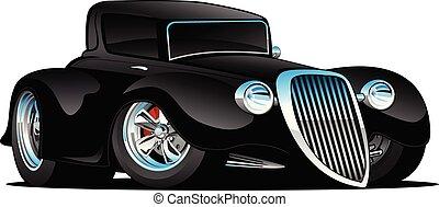 מכונית קלאסית, מוט, דוגמה, מנהג, חם, וקטור, שחור, *דו מושבי, ציור היתולי