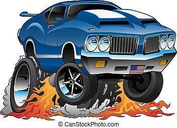 מכונית קלאסית, שנות השבעים, מוט, אמריקאי, דוגמה, חם, וקטור, שריר, ציור היתולי