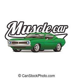 מכונית קלאסית, *t* חולצה, וקטור, פוסטר, הדפס, שריר, ציור היתולי