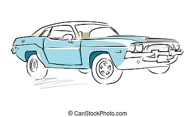 מכונית, רשום, שריר, ציור, וקטור