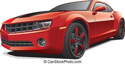 מכונית, שריר, אדום
