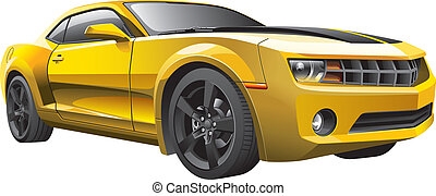 מכונית, שריר, צהוב