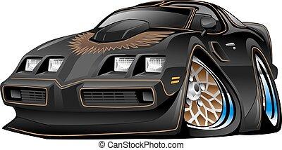 מכונית, שריר, שחור, ציור היתולי, קלאסי